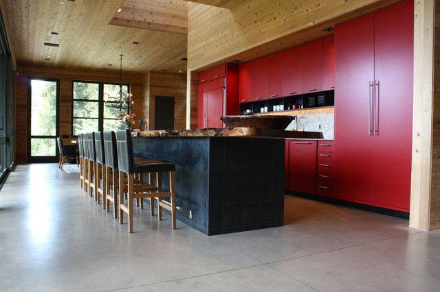 Rot Wand Holzdecke Gegenwärtig Küche Idee | Maus Im Haus | Pinterest Wohnzimmerwand Rot
