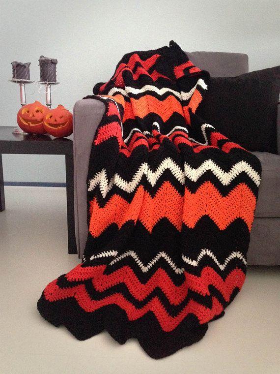 Halloween blanket - Halloween decor spooky orange and black chevron ...