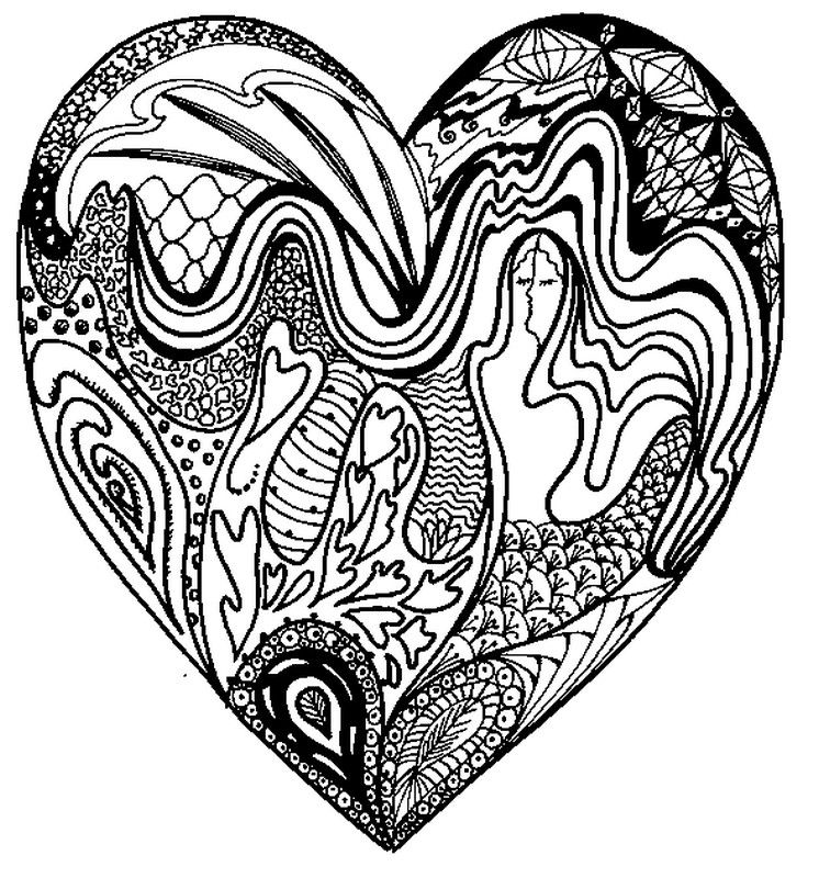 Mindful Adult Coloring About Love  hearts  Pinterest  Adult
