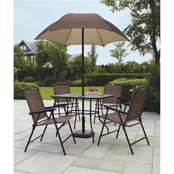 Great 6 Piece Folding Patio Dining Set With Umbrella Sand Dune Furniture Seats 4