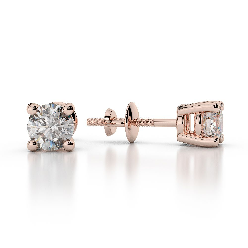 Rose Gold Round Diamond Stud Earrings Ager 1009 Ag Sons Uk Ltd