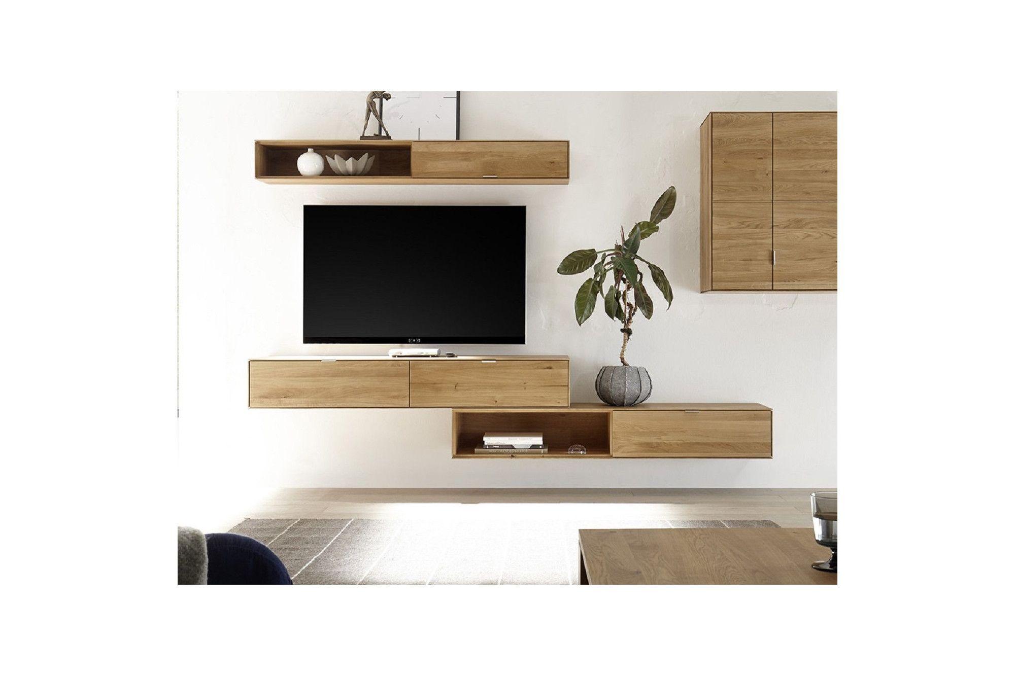 Meuble Tv Pour Coin meuble tv suspendu en chêne massif / 2 tiroirs - hellin en