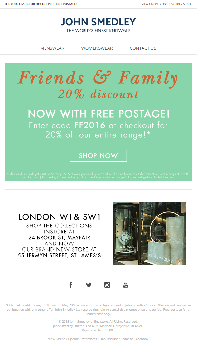 20% off offer with discount code from Whistlefish #EmailMarketing ...