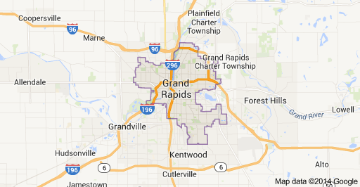Image result for grand rapids michigan map