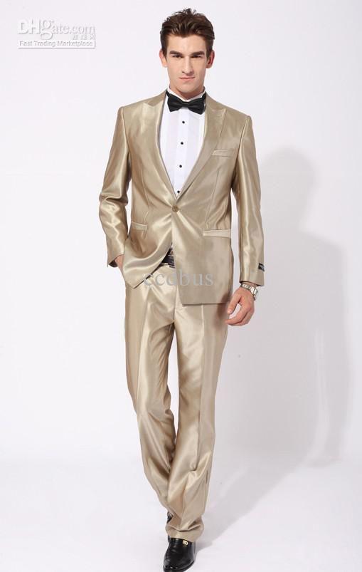 Wholesale NEW Gold Best man slim Groom Tuxedos Men's Wedding Dress ...