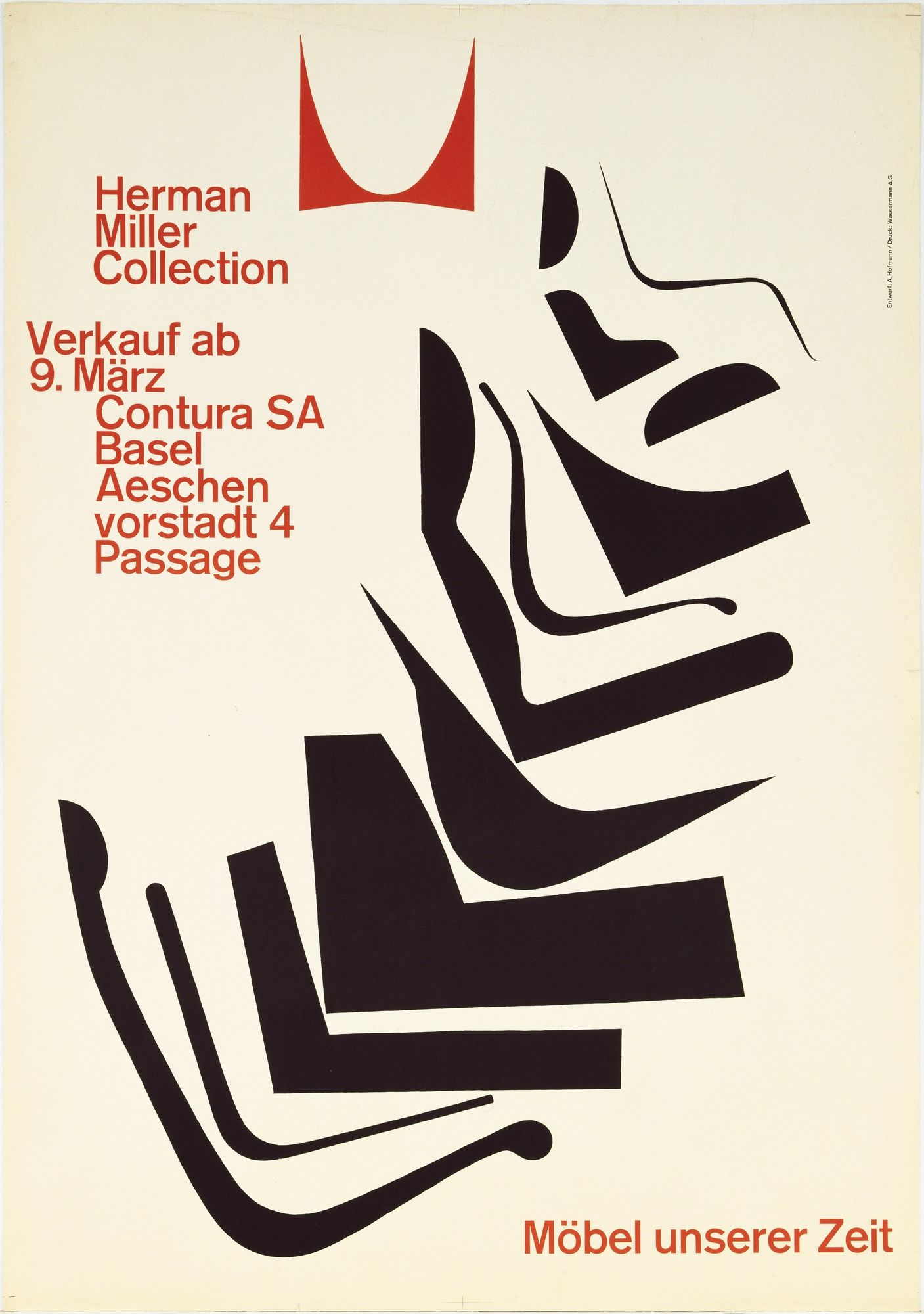 Herman Miller Collection, Möbel Unserer Zeit. 1962. Lithographu2026