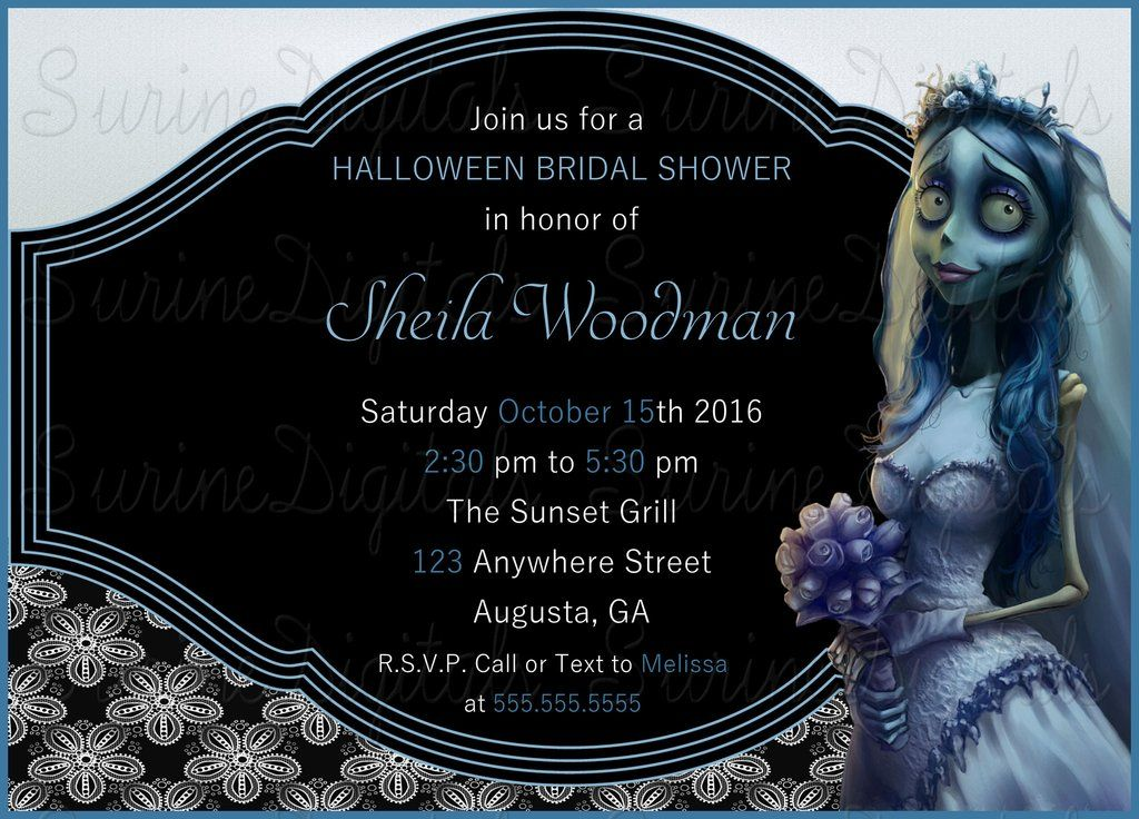 bridal shower invitations free printable templates%0A Corpse Bride Themed Bridal Shower Invitation  Halloween Themed Bridal Shower  u