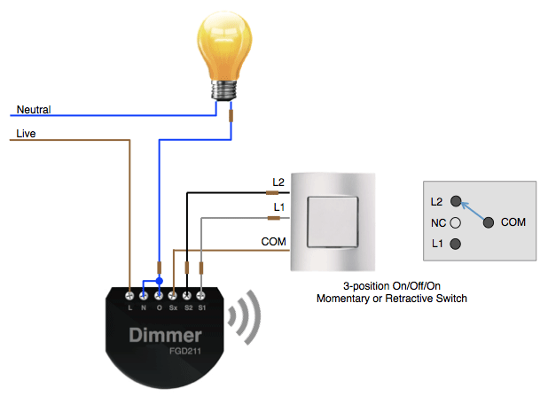 Using a 3position switch with a Fibaro Dimmer Smart Home