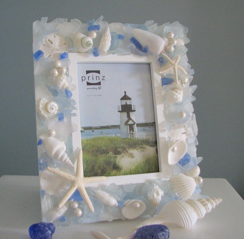 Beach decor seashell frame nautical shell frame w sea glass beach decor seashell frame nautical shell frame w sea glass starfish 8x10 light jeuxipadfo Image collections