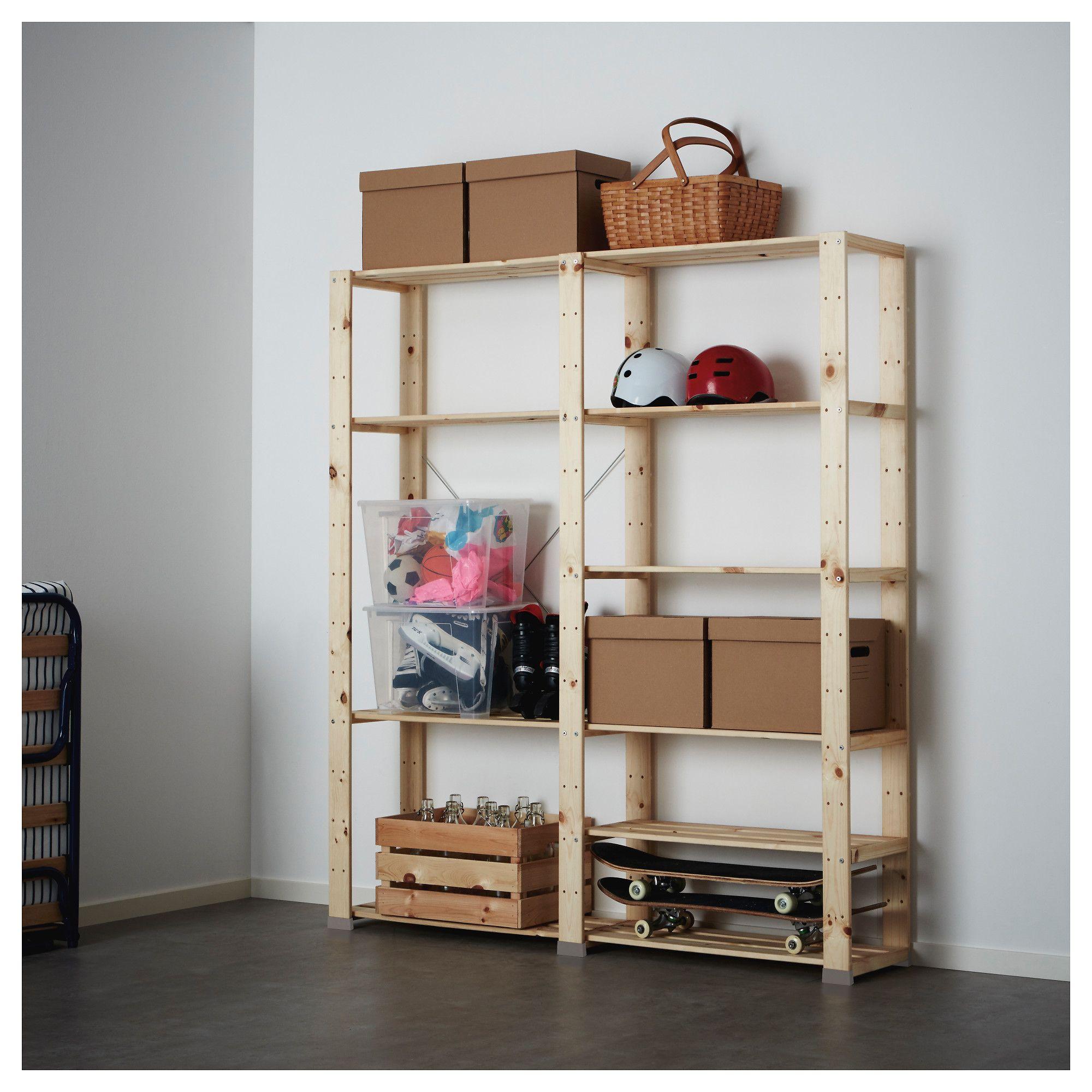 Hejne 2 Section Shelving Unit Softwood 60 5 8x12 1 4x67 3 8 Ikea Shelving Unit Shelving Ikea Hejne