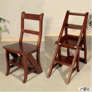 Walnut Convertible Ladder Chair Library Step Stool Chair Ladder Chair Step Stool