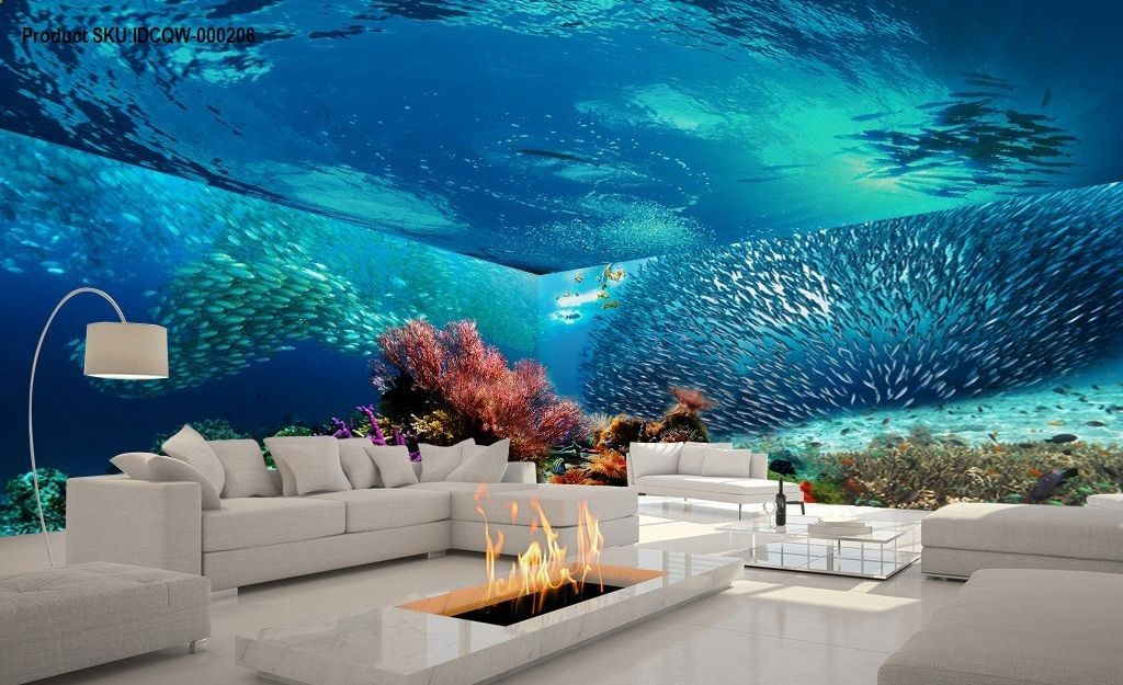 3d Shoal Of Fish Coral Entire Living Room Bathroom Wallpaper Wall Mural Art Decor Idcqw 000206 Mural Wall Art Wall Wallpaper Bathroom Wallpaper