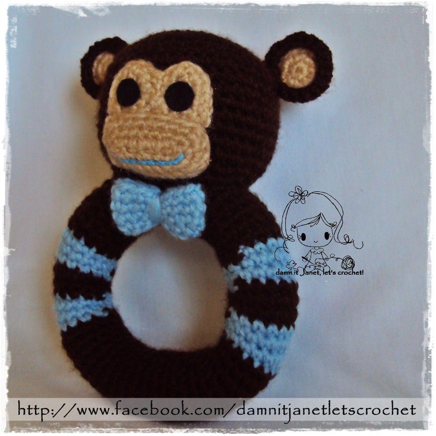 Monkey Rattle (Boy version). $2.00, via Ravelry.