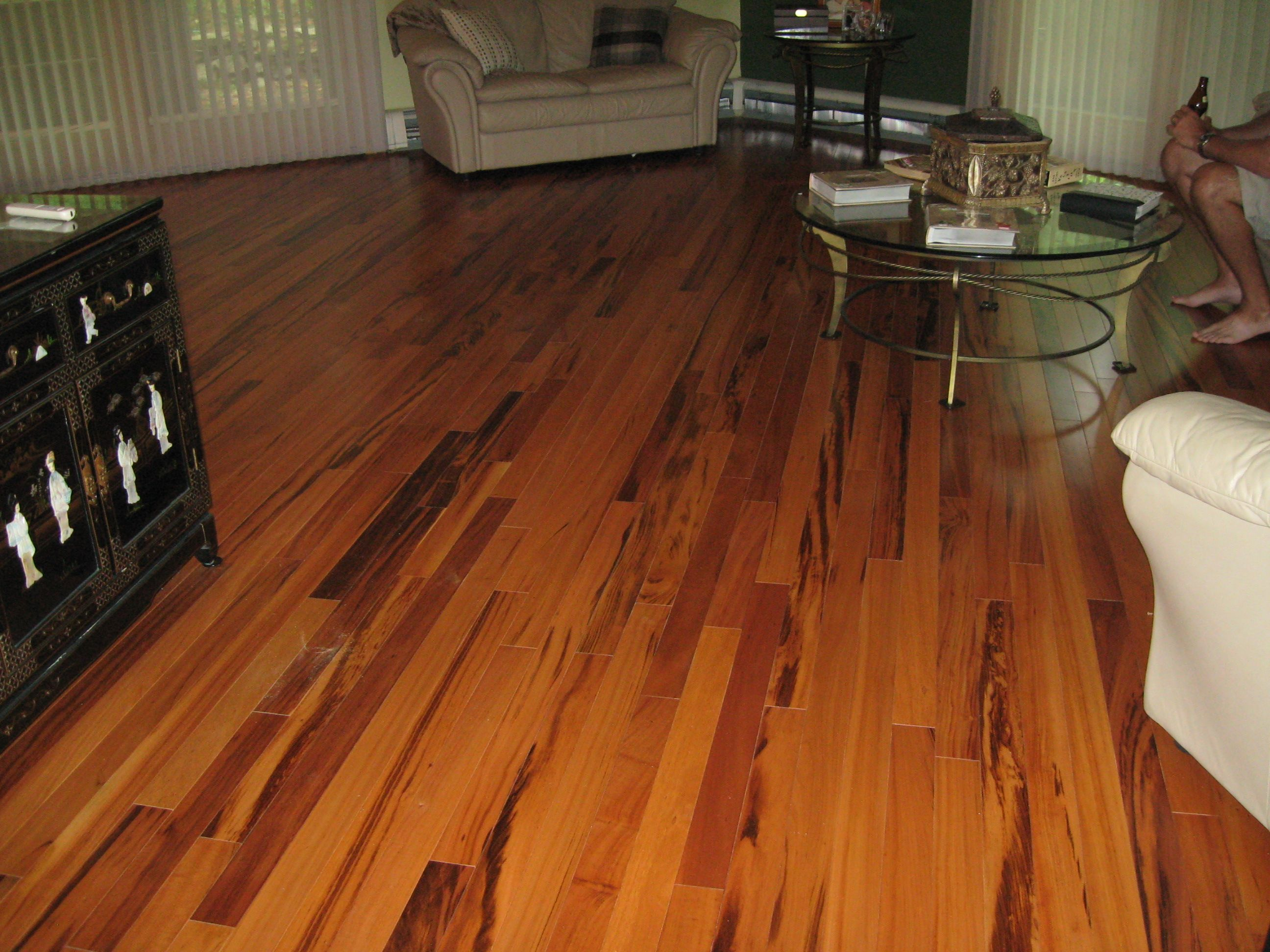 Floor decor installation of exotic tigerwood 3 4 x 3 for Tigerwood hardwood flooring