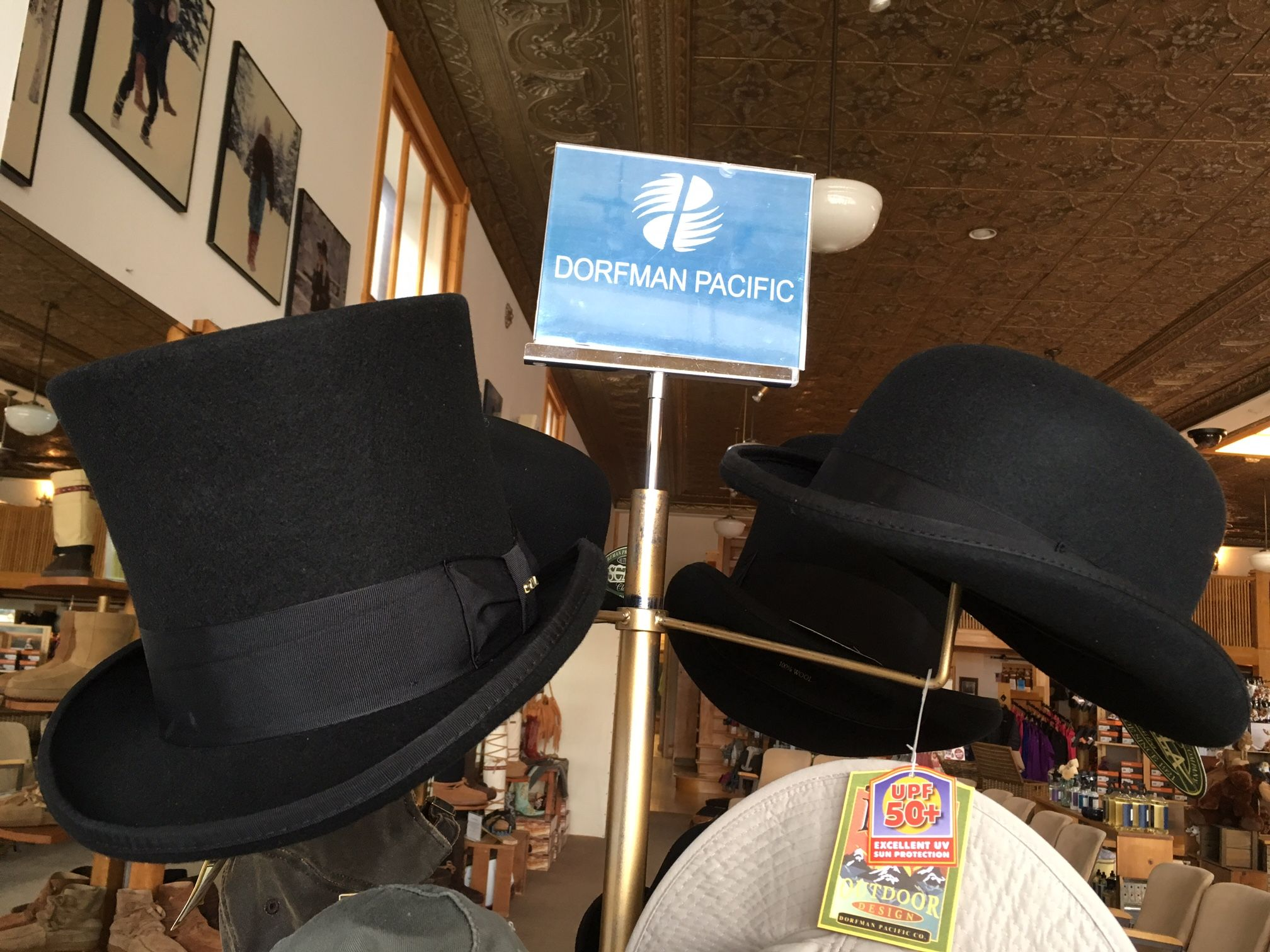 Looking for a top hat or bowler hat - you need to stop by the store at #stegermukluks #DorfmanPacific
