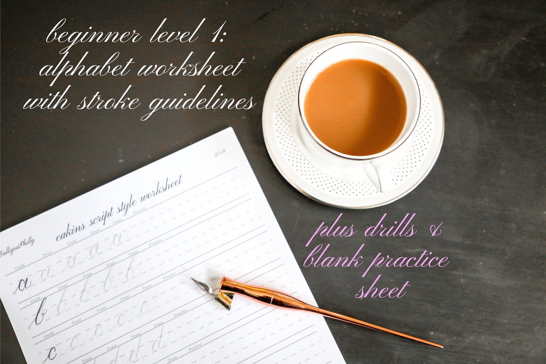 Beginner Level 1 Copperplate Calligraphy Worksheet Set In
