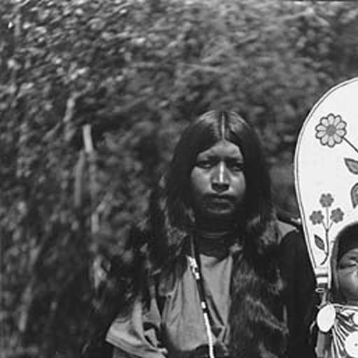 Wenatchi or Nez Perce woman known as Annie from Wenatchee with infant in beaded cradleboard, Washington, ca. 1900-1910. :: American Indians of the Pacific Northwest -- Image Portion