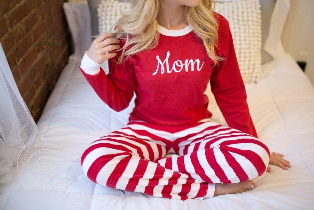 Christmas pajamas adult with monogram or name shop gentry