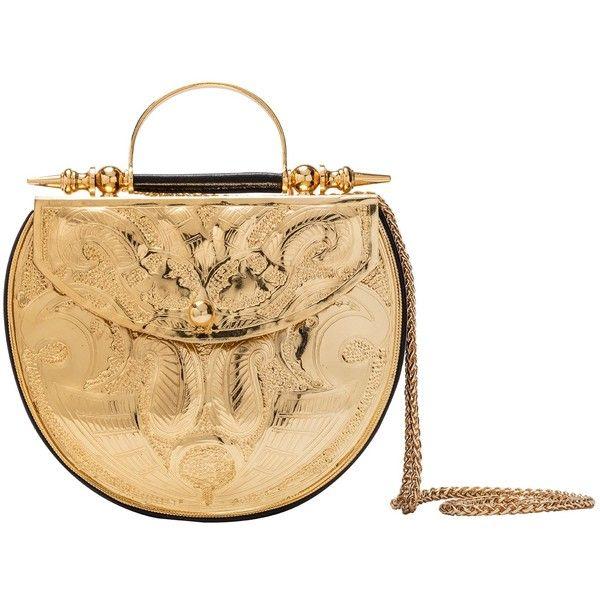 Okhtein - Palmette Flower Minaudière Oval Gold (€600) ❤ liked on Polyvore featuring bags, handbags, clutches, gold clutches, gold handbag, gold minaudiere, flower handbag and heart handbag