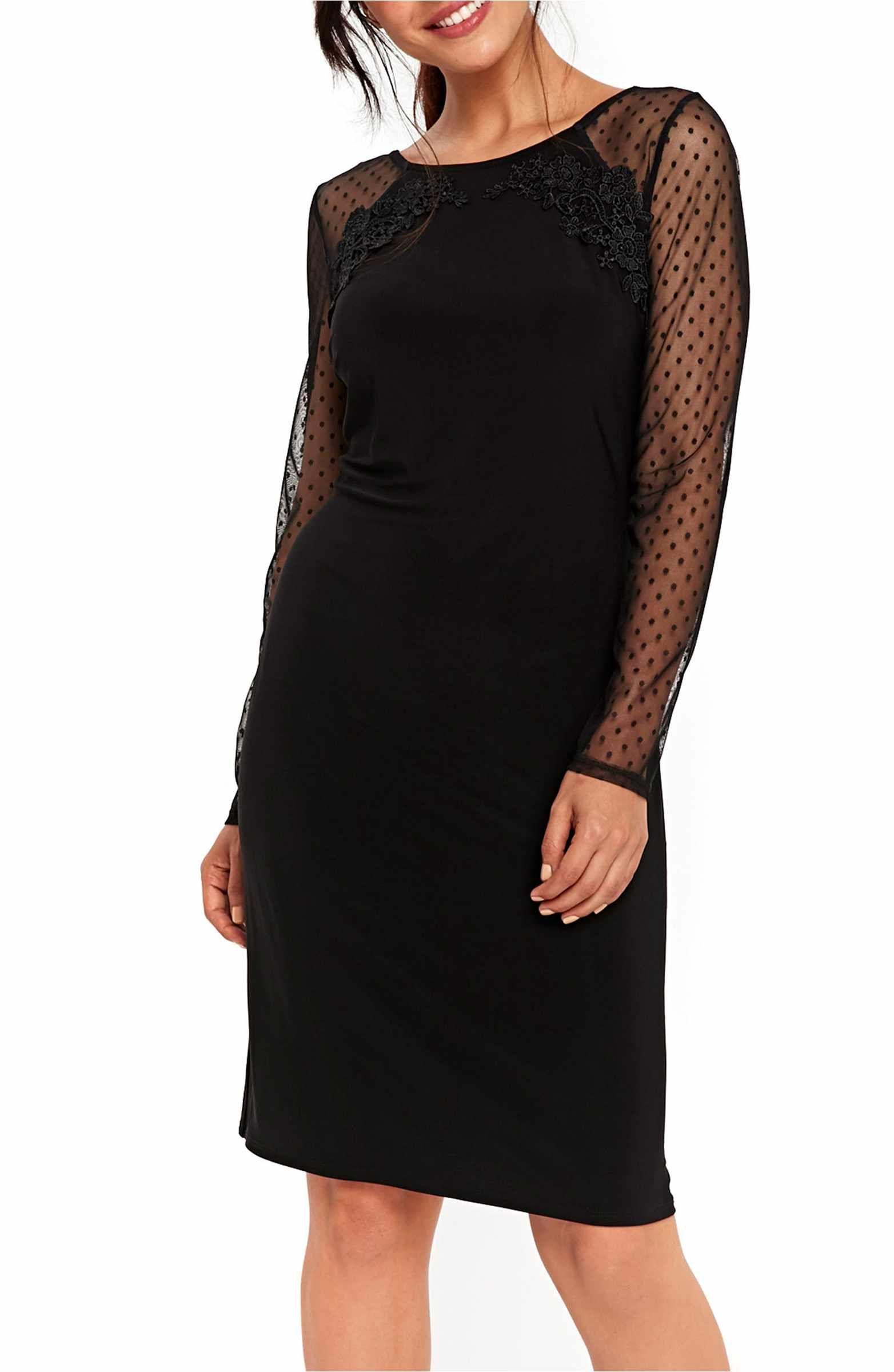 Wallis Dot Mesh Sleeve Sheath Dress Black Party Dresses Mesh Sleeved Dress Mesh Sleeves
