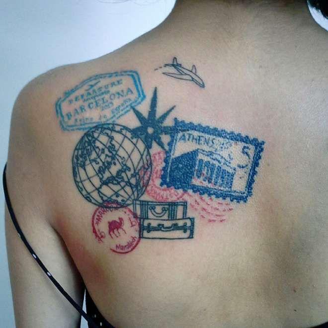 des tatouages en rapport avec le voyage tatouage. Black Bedroom Furniture Sets. Home Design Ideas