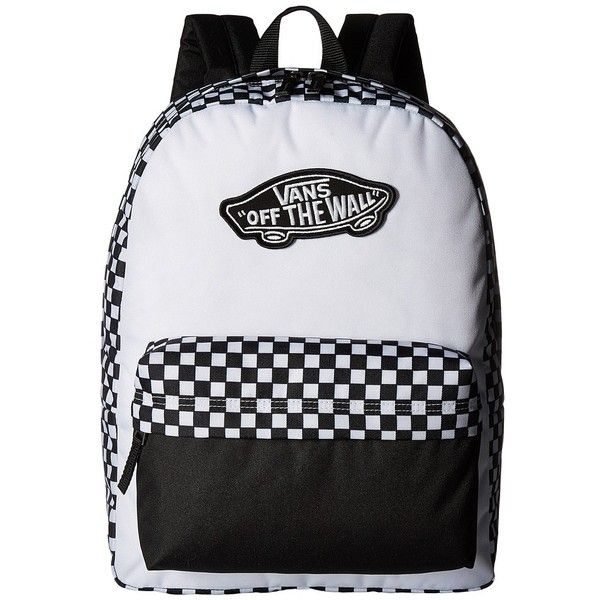 6095501199 Vans Realm Backpack (Black White Checkerboard) Backpack Bags ( 31) ❤ liked  on Polyvore featuring bags