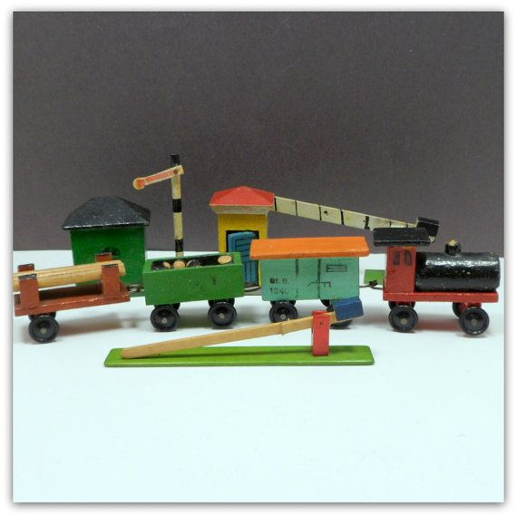 Vintage Erzgebirge Wooden Railway Train Cars Accessories German Penny Toy on Etsy, $95.00