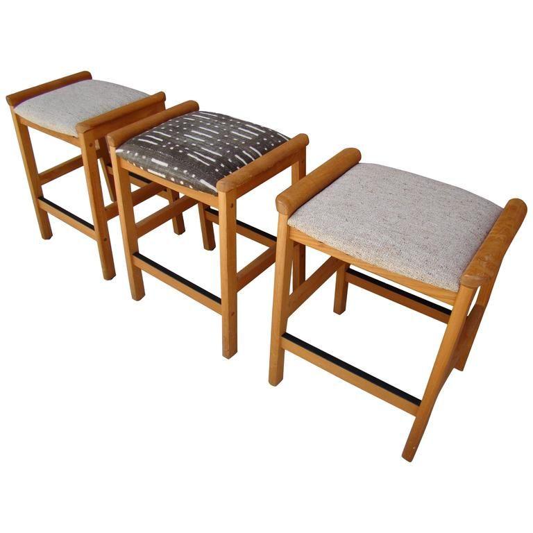 danish modern teak counter height bar stools by j l moller denmark