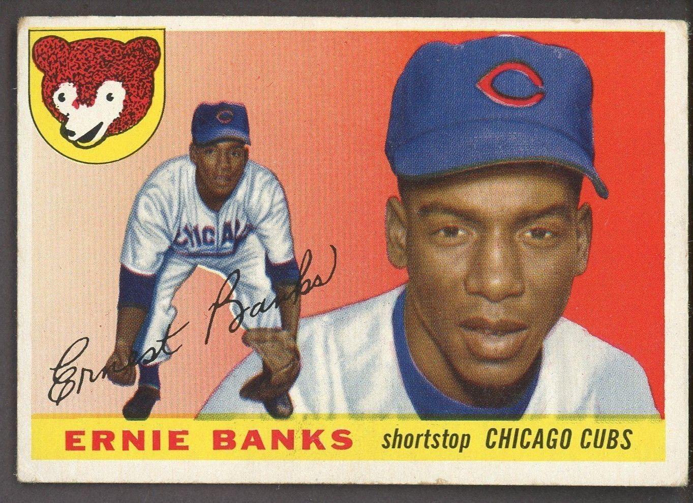1955 topps 28 ernie banks chicago cubs hof baseballcards
