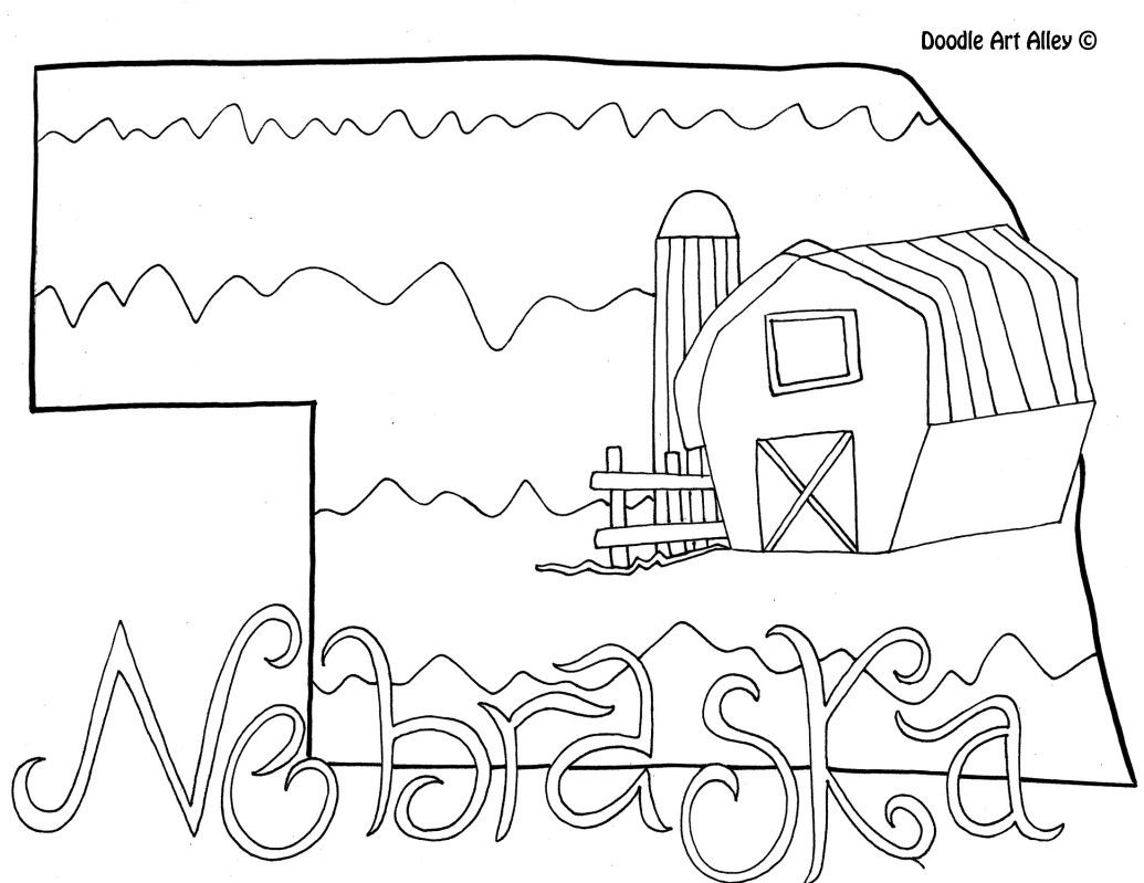 Nebraska Coloring Page By Doodle Art Alley Football Coloring