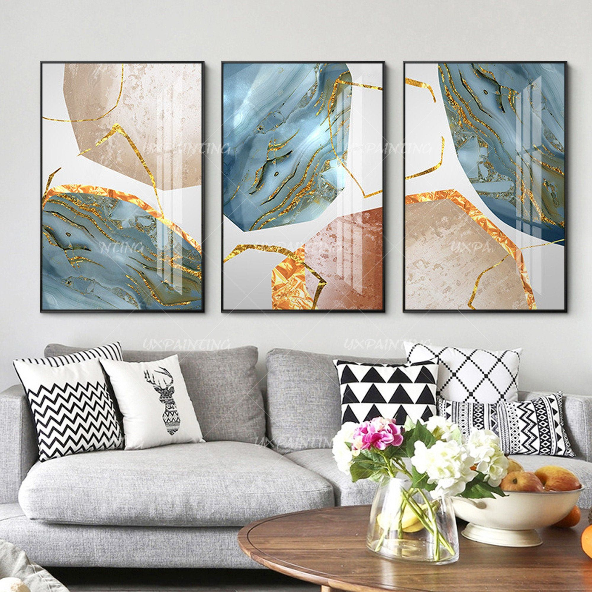 3 Pieces Wall Art Abstract Print Gold Art Stone Print On Etsy 3 Piece Wall Art Painting Frames Abstract Print