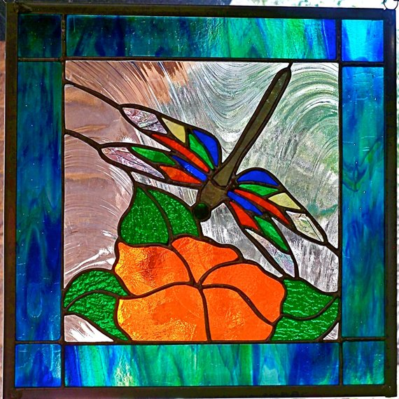 Dragonfly N Magnolia Stained Glass Window Panel Etsy Stained Glass Window Panel Stained Glass Windows Stained Glass Butterfly