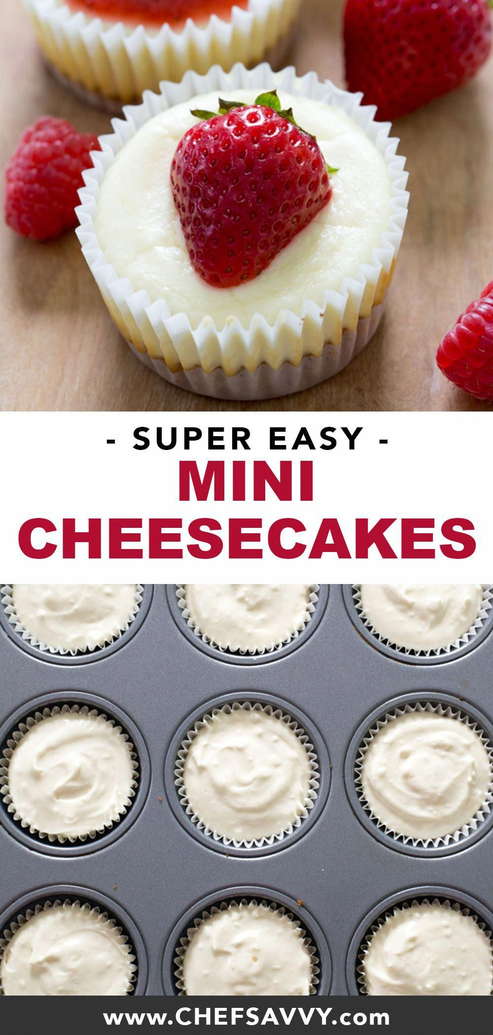Mini Cheesecake Cupcakes: your favourite layered dessert in miniature form! A crunchy graham cracker crust, smothered in tangy sweet cream cheese, topped with your choice of strawberry or salted caramel sauce, this bite-sized make ahead delight is sure to be a hit at your next potluck or party! | chefsavvy.com #cheesecake #minicheesecake #cheesecakecupcake #dessert #partyfood #cheesecakedessertseasy