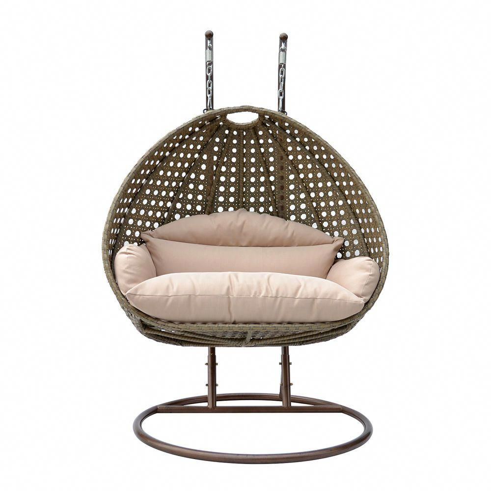 outdoor swing chair with stand hickory candler king bed 2 person swinging patio rattan hanging hammock furniture w home