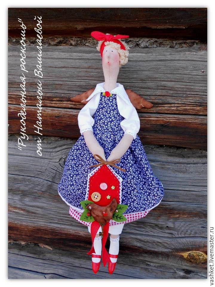 Купить Домашний Ангел Лора - ярко-красный, кукла, ангел, тильда, подарок, ручная работа