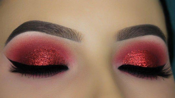 Red Glitter Smokey Eye Tutorial, #Eye #Glitter #Red #Smokey #Tutorial
