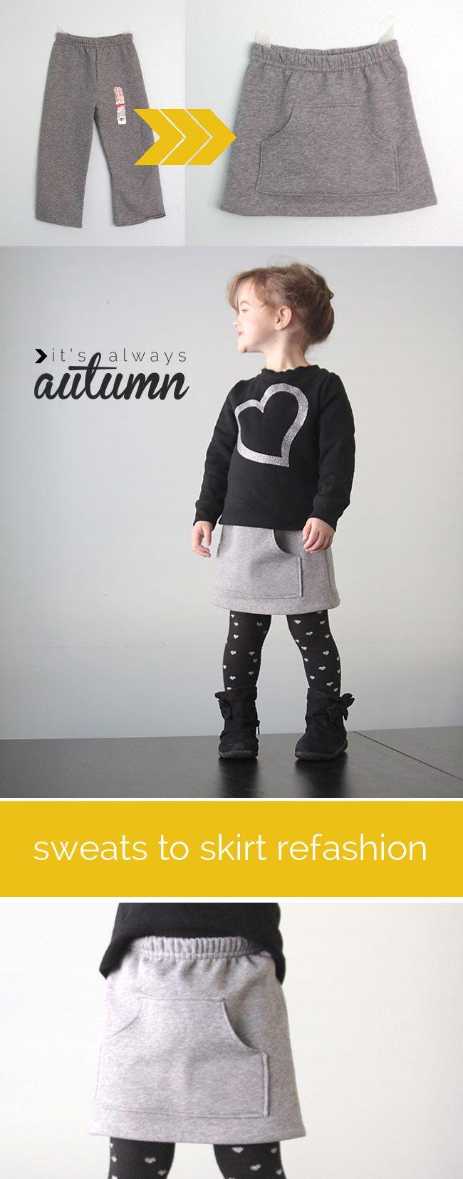 fácil tutorial de costura muestra cómo convertir pantalones en una falda linda bolsillo canguro