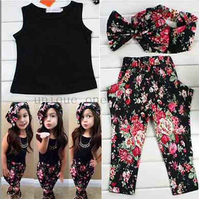 4c8a43949 Hot summer baby girls clothes vest t-shirt + flower pants + headband ...