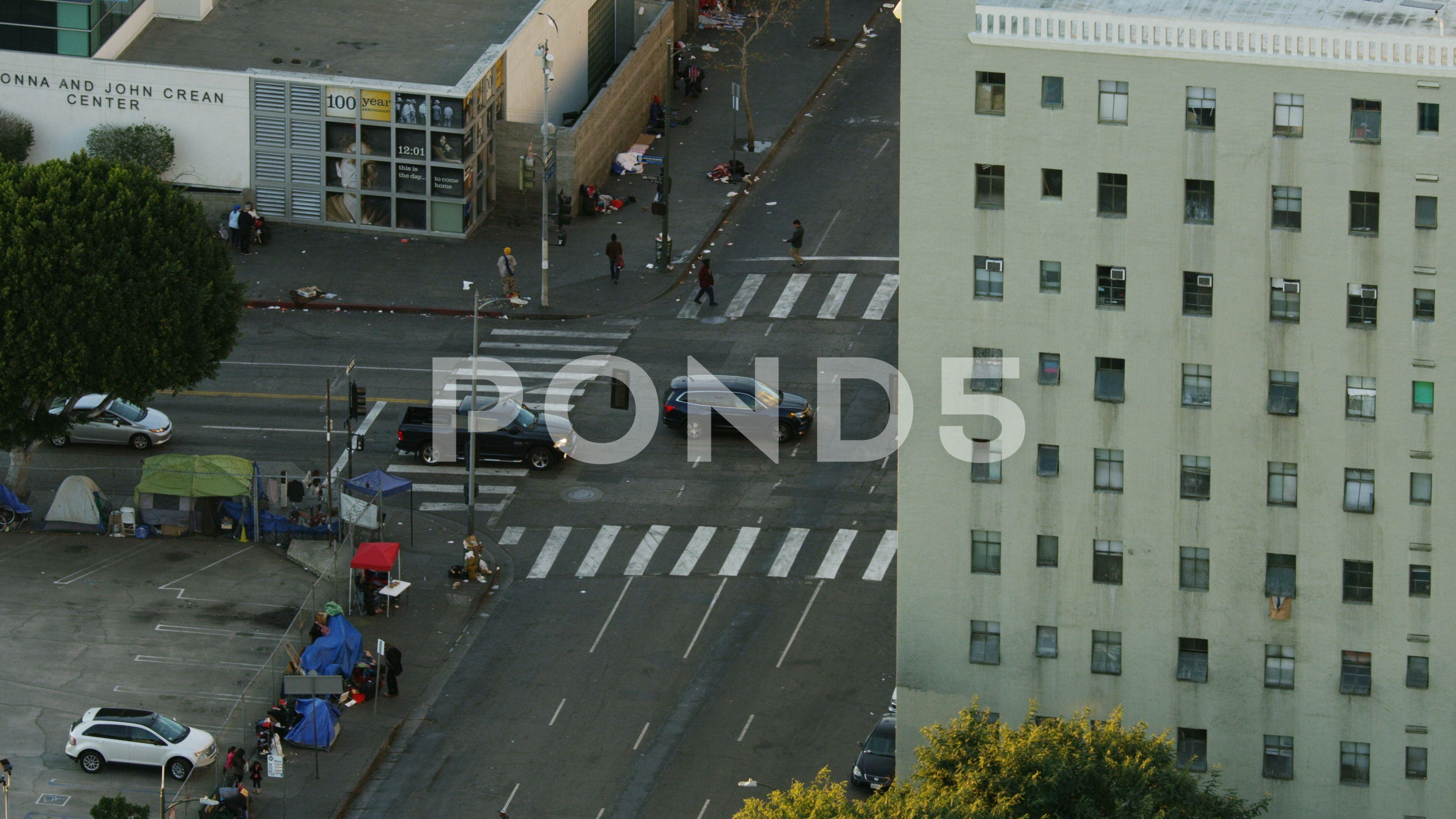 Aerial Homeless Street People Tent City Los Angeles Stock Footage Ad People Tent Street Aerial