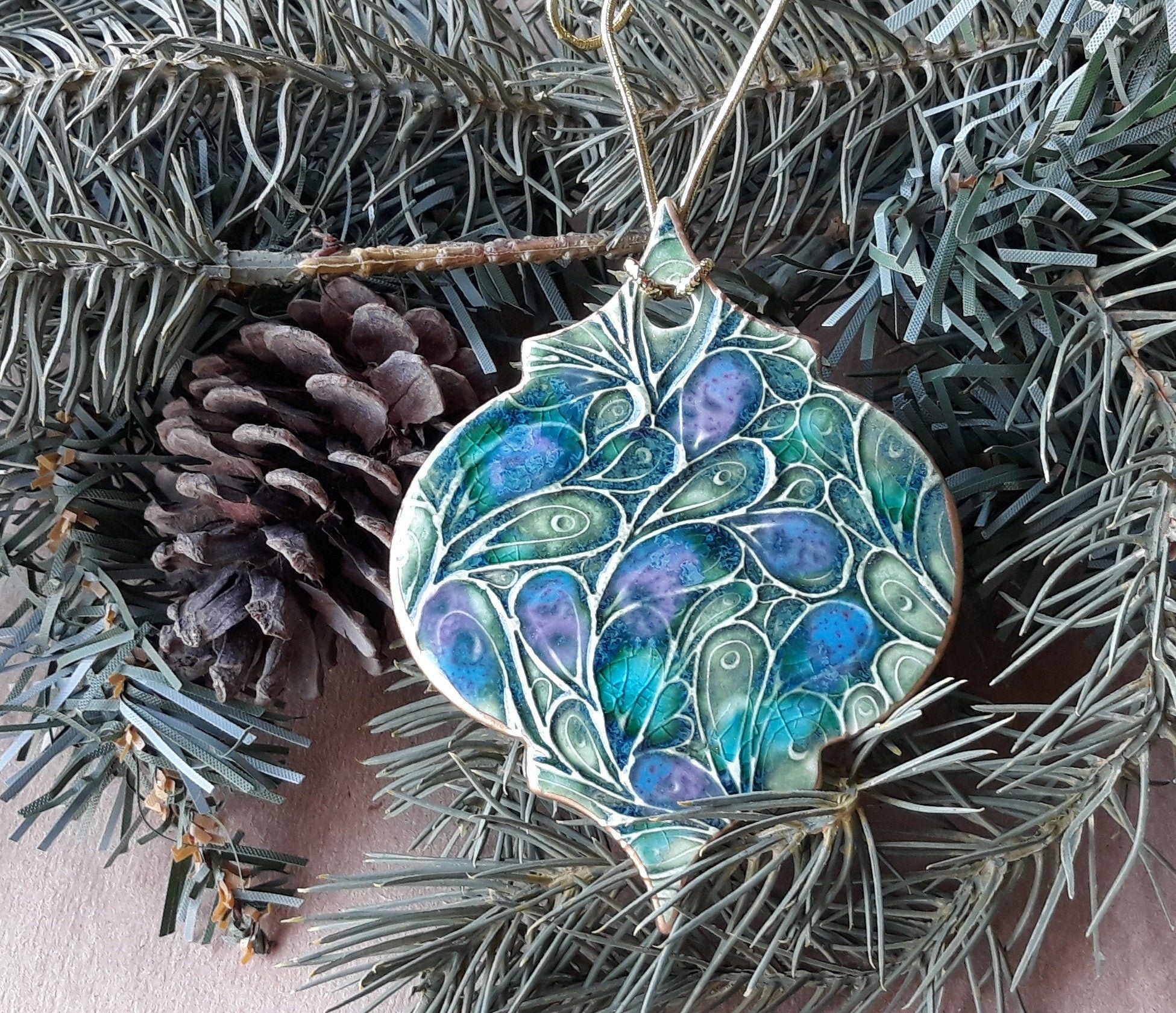 Ceramic Christmas Ornament Peacock Green Purple blue edged