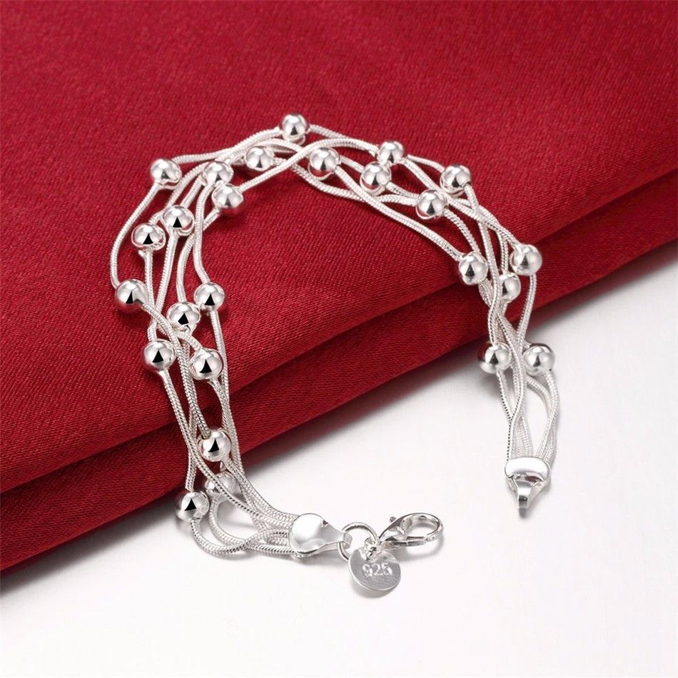 Multistrand silver plated snake chain u beads bracelet products