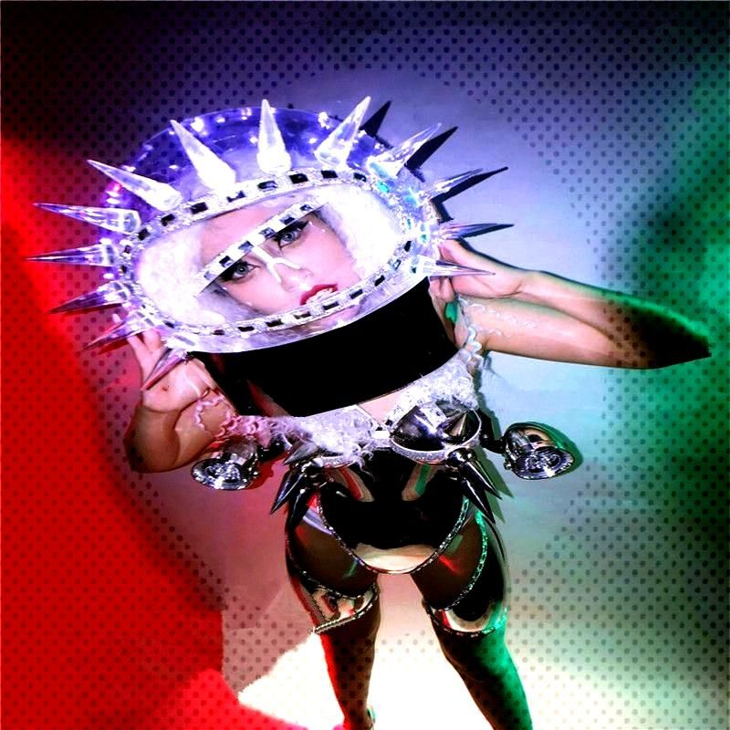 Outer space ballroom dance costumes led light robot suit women stage show wears dress catwalk p We