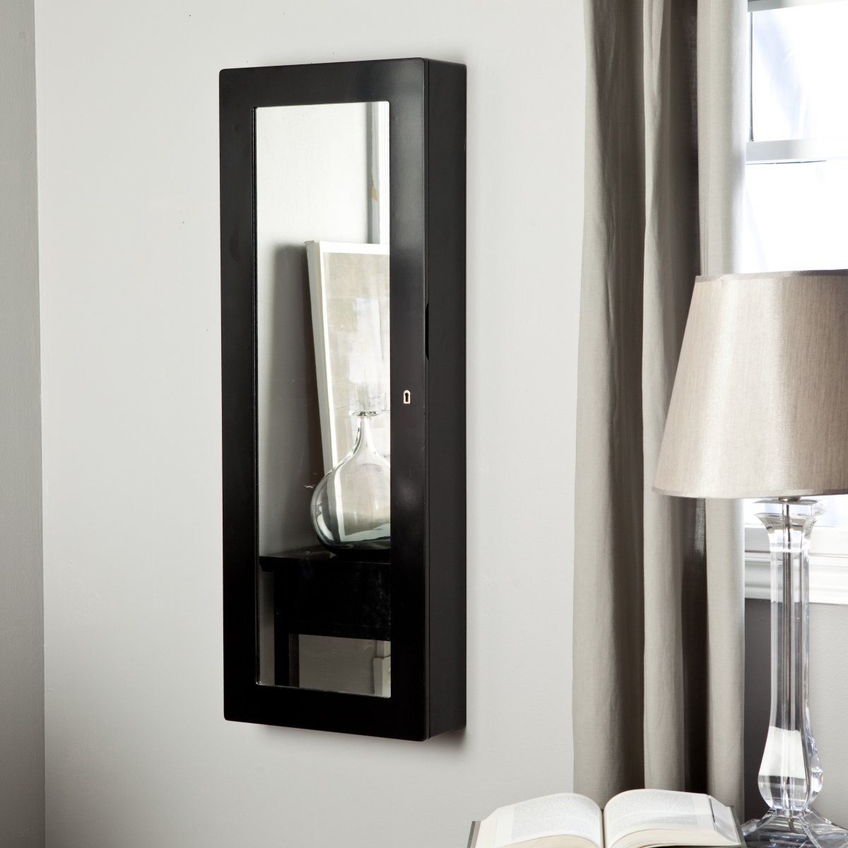 Paloma Wooden Wall Jewelry Armoire High Gloss Black Jewelry