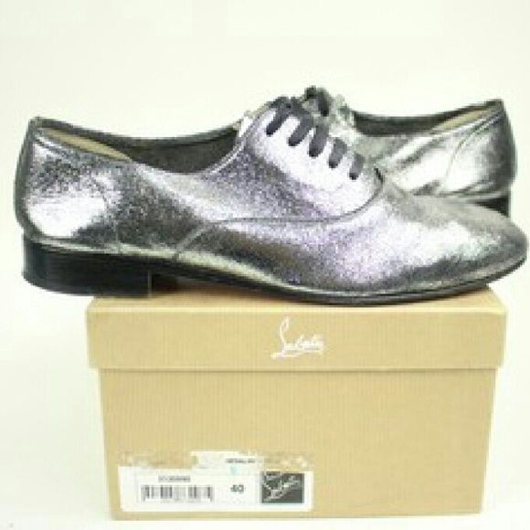 """""""Silver Fred Metallic 40 Flats   BG-#10753801"""" Christian Louboutin Silver Metal Shoes 40     This item will ship immediately.  Signs of wear: Soles have scuffs. Little scratch on the right top. See photos for details. Christian Louboutin Shoes Flats & Loafers"""
