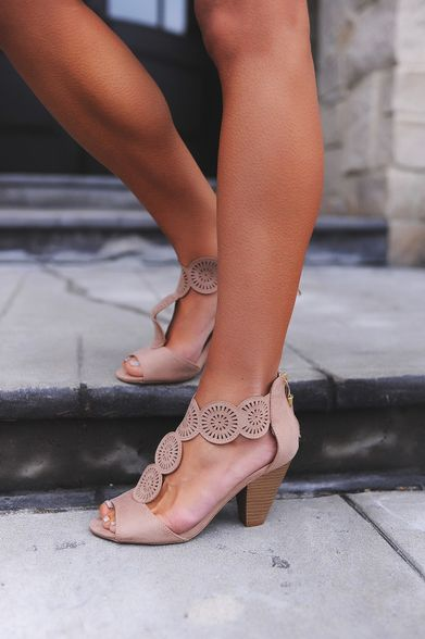Taupe Circle Cut-Out Heel