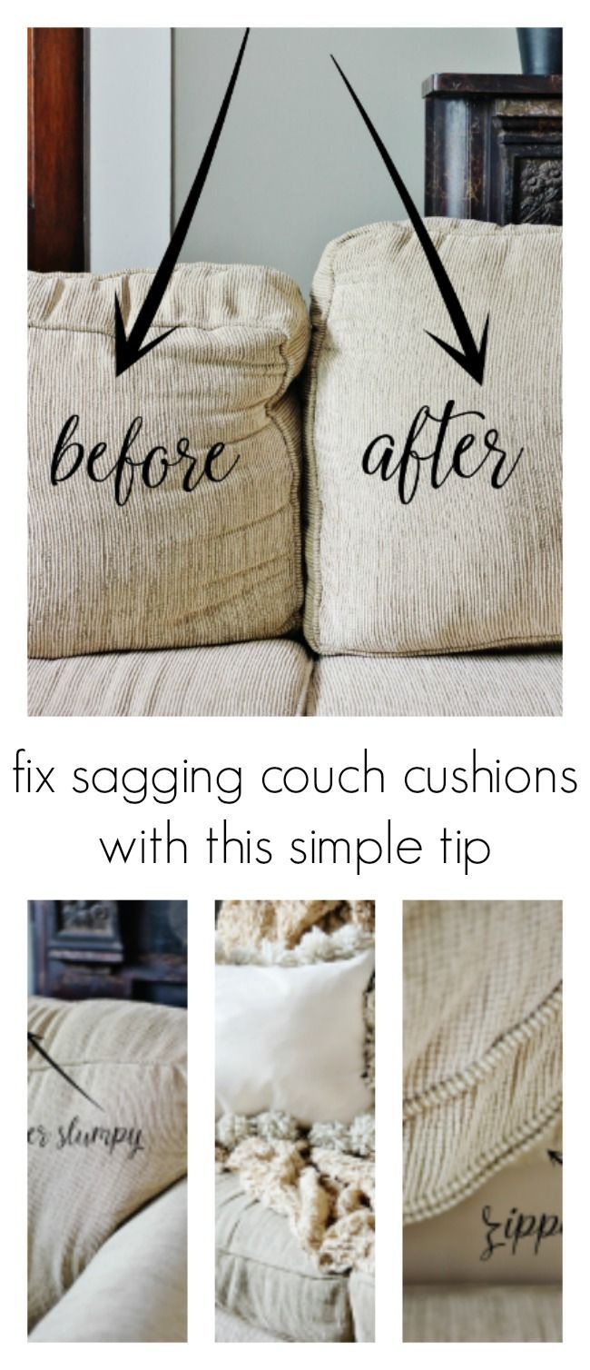 Don't let your couch cushions sag. It's so easy to fix them with this one simple tip. #farmhouse #tips #simpletips #cushions #easyhacksMy