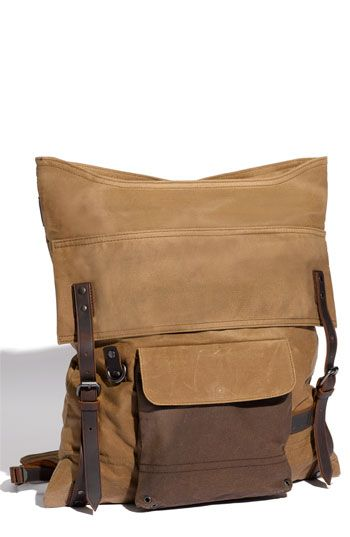 aebee1350c2 Levi's 'River Rock' Backpack :: A waxed canvas rucksack detailed with  genuine leather buckle straps