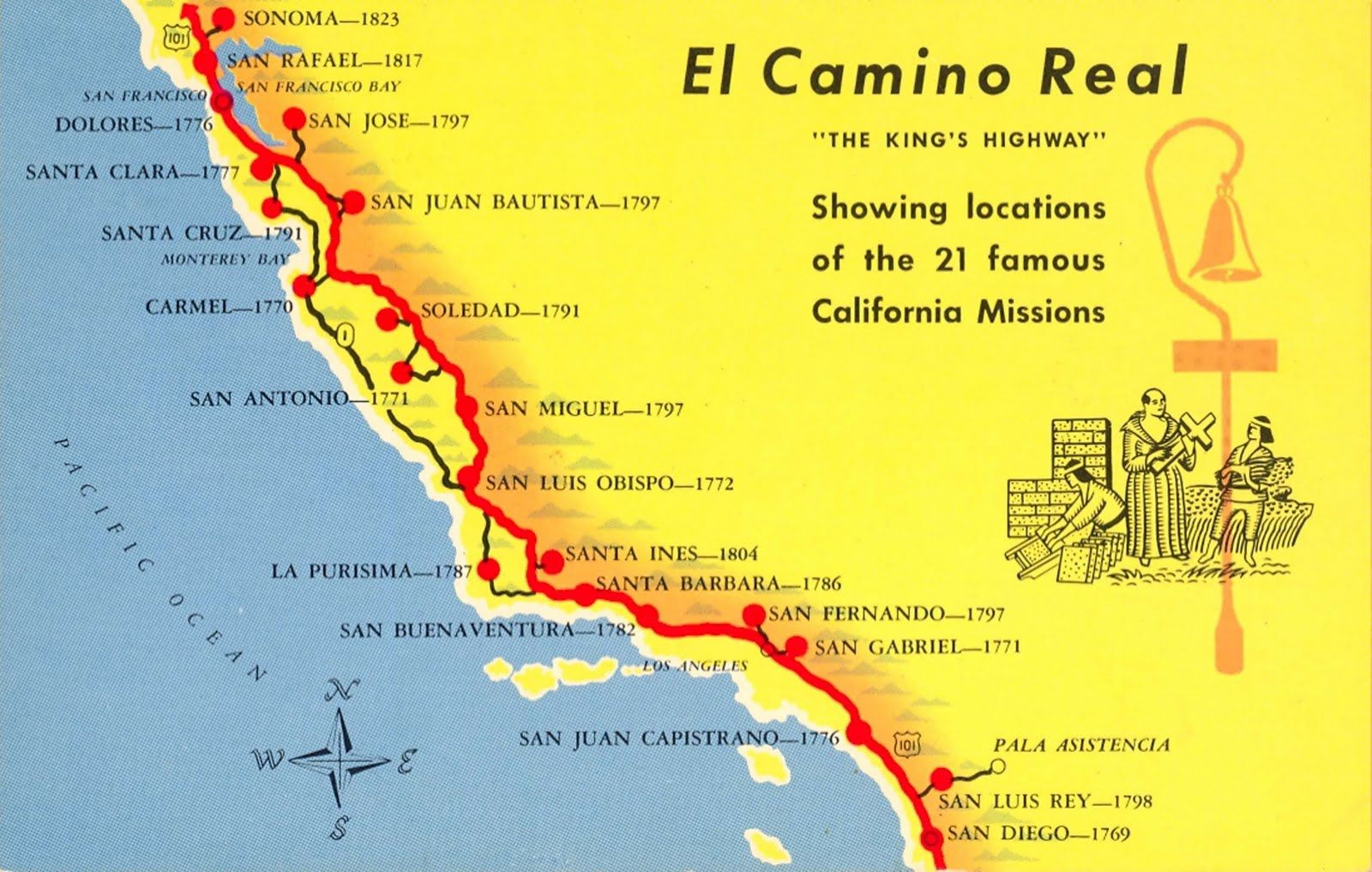 A Trail Map Of Some Of The Amazing Spanish Missions Across