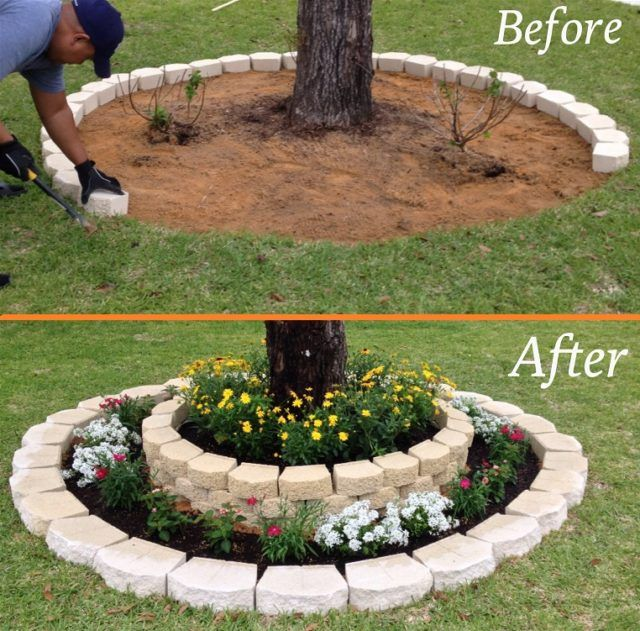 Landscaping around a tree diy ideas pinterest for Redesigning the front of your house