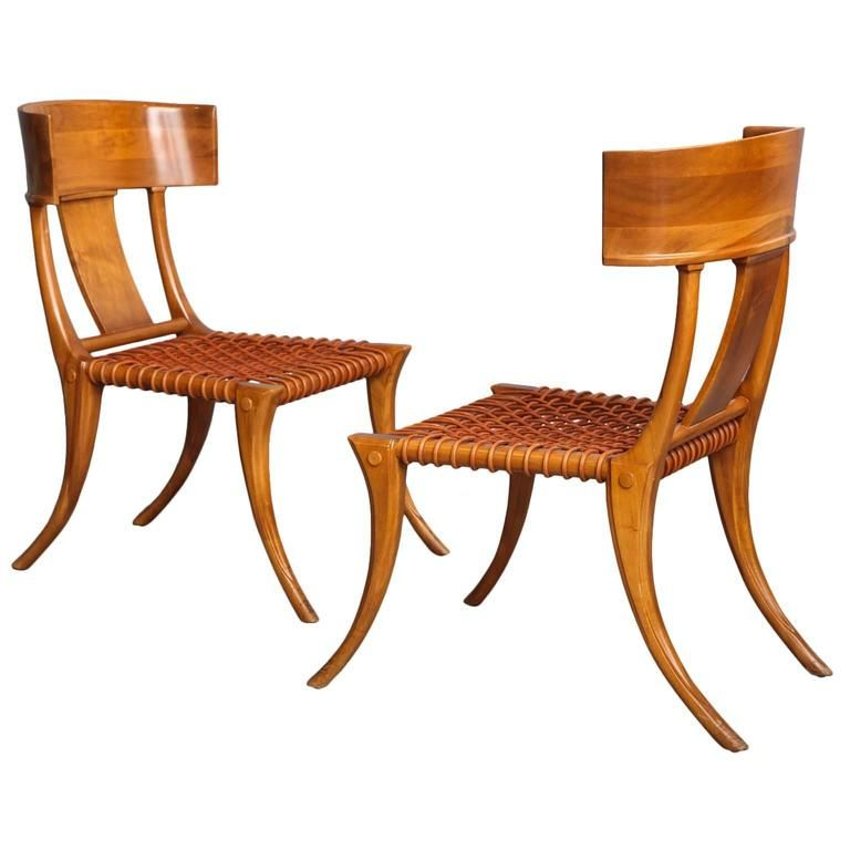 Pair Of T.H. Robsjohn Gibbings For Saridis Of Athens Walnut Klismos Chairs  Ca.1965